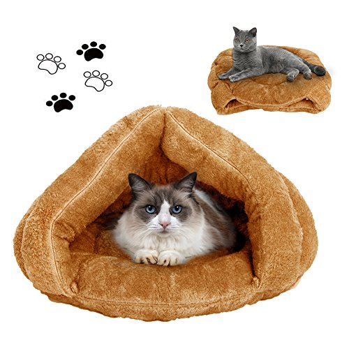 Cat Bed Warm House Sleeping Bag Sleep Zone For Puppy Cat Rabbit Bed Small Animals Sleeping Bag,Camel