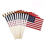 NECOA Small American Flags 5x8 Inch-Quality Printed Mini US American Hand Held Stick Flags Spear Top Pack of 24