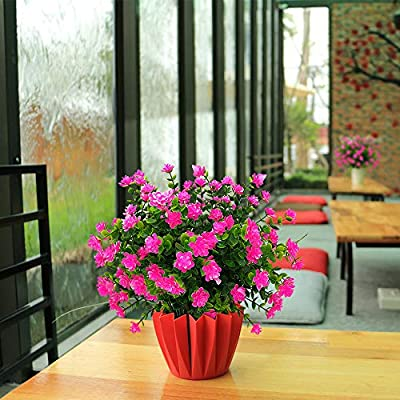 AITISOR Artificial Flowers, Fake Outdoor UV Resistant Plants Faux Plastic Greenery Shrubs Indoor Outside Hanging Planter Home Kitchen Office Wedding, Garden Decor (Pink)