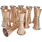 DakshCraft ® Premium Plain Solid Copper Jigger,Set of 12 - Shot Glasses - New Beer Bar Collection