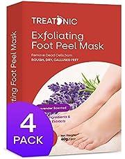 Treatonic Foot Peel Mask -4 Pairs- Exfoliating Peeling Away Calluses and Dead Skin Cells, For Cracked Heels, Dead Skin & Calluses - Smooth and Soft Skin, Repair Rough Heels For Men & Women Lavender
