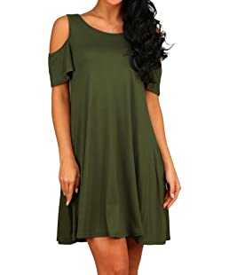 HAOMEILI Women's Cold Shoulder with Pockets Casual Swing T-Shirt Dresses (Small(UK 8-10), Army Green)