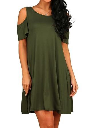1cc2b23a8e HAOMEILI Women s Cold Shoulder Tunic Top T-Shirt Casual Swing Dress with  Pockets (X