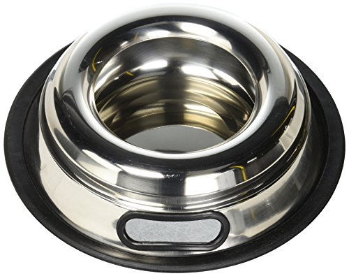 Indipets Stainless Steel Spill Proof - Splash Free No Tip Anti Skid Dish with easy pick up grip handle, 16-Ounce ()