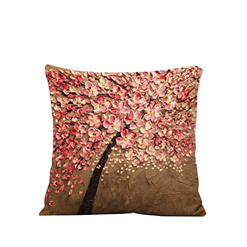 NITAN Baumwolle Leinen Dekokissen Fall Dekorative Quadratisch Sofa Auto Kissenbezug Kissenhülle 45 x 45cm - Malerei Pfirsichbaum (Pink Braun)