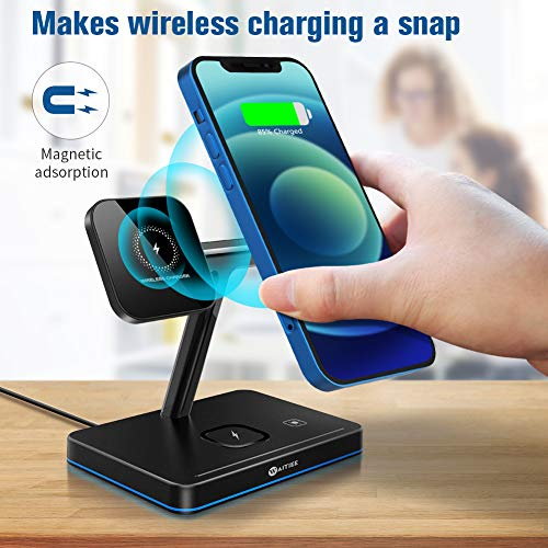WAITIEE 3 in 1 Magnetic Wireless Charger Fast Wireless Charging Station with QC3.0 Adapter Compatible with iPhone 12/12 Pro Max/Mini/AirPods Pro/AirPods 2 iwatch Series