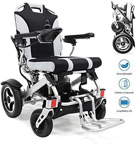 CHAIR Silla de ruedas, silla de rehabilitación médica para personas mayores, personas mayores, silla de ruedas eléctrica de aluminio Lite, silla de ruedas de transporte plegable totalmente automática