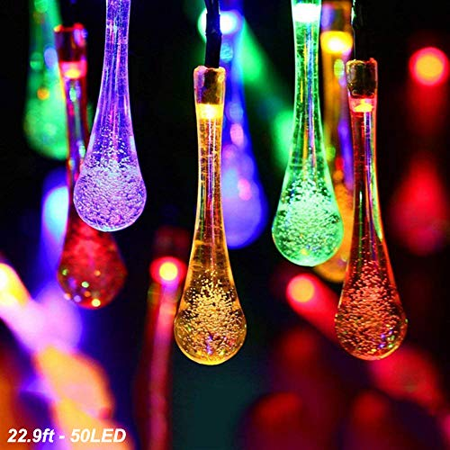 (DEMTER Solar String Lights, 22.9ft 50 Advanced Waterproof Water Drop Mode LED Solar Fairy Lights, Outdoor Saint Valentine's Day Lights for Patio, Lawn, Home, Garden, Wedding, Party)