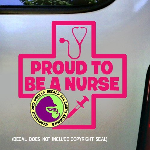 PROUD TO BE A NURSE Nursing Physician Practitioner Vinyl Decal Bumper Sticker Laptop Window Car Wall Sign PINK (Best Laptop For Physicians)