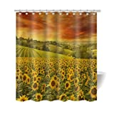 "Gwein Beautiful Autumn Scenery and Nature Sunflower Bath Home Decor of Waterproof Bathroom Polyester Fabric Mildew Resistant Shower Curtain 72""(w)x72"" (h)Inch"