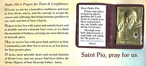 Prayer Folder - SAINT PIO RELIC PLAQUE IN A SMALL FOLDER /INCLUDES PRAYERS