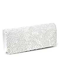 Jubileens Women's Elegant Floral Lace Evening Party Clutch Purse Bridal Wedding Handbag