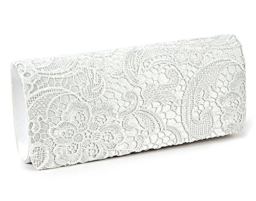 Jubileens Women's Elegant Floral Lace Evening Party Clutch Purse Bridal Wedding Handbag (White)