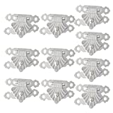 Whale GoGo 10 Pieces Metal Jewelry Gift Box Latch Hasp Wooden Case Small Hasp (Silver)