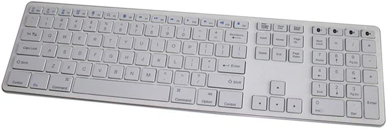 ZUEN Bluetooth Keyboard 109 Keys Multi-Pairing Three-Key Area Ultra-Thin Wireless Keyboard Silver Home Suitable for Office