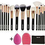BABI BEAR 15 PCs Makeup Brushes Set Premium Synthetic Kabuki Foundation Brush Professional Wooden Handle Makeup Brush with Makeup Sponge Brush Cleaner and Travel Makeup Bag (15+3pcs,Rose Gold)