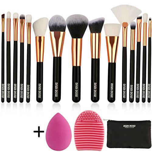 BABI BEAR 15 PCs Makeup Brushes Set Premium Synthetic Kabuki Foundation Brush Professional Wooden Handle Makeup Brush with Makeup Sponge Brush Cleaner and Travel Makeup Bag (15+3pcs,Rose Gold)