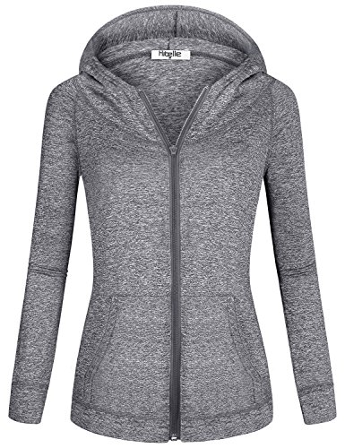 Hibelle Ladies Hoodies, Woman Fall Long Sleeved Kangaroo Pockets Hood Top Chilly Days Gym Sporting Sweatshirts for Women Zip Up Hoodie Running Exercise Shirts Activewear Grey X Large