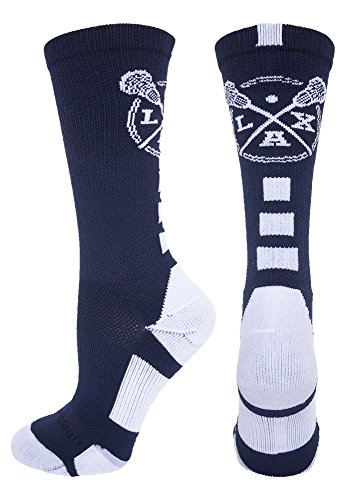 LAX Lacrosse Crew Socks (Navy/White, Medium)
