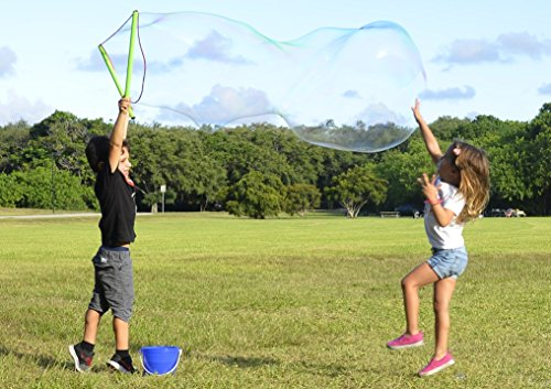 WOWmazing Giant Bubble Wand Kit: (3-Piece Set)   Incl. Wand, Big Bubble Concentrate and Tips & Trick Booklet   Outdoor Toy for Kids, Boys, Girls   Bubbles Made in the USA