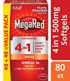 Omega-3 Fish & Krill Oil Supplement 500mg  - MegaRed Advanced 4in1, 80 softgels, 2x More Omega-3, Heart, Joint, Brain and Eye Supplement