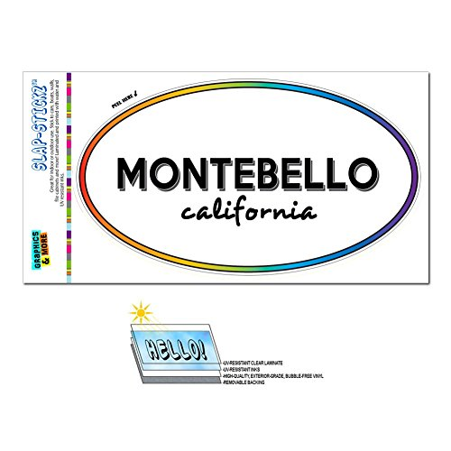 Graphics and More Rainbow Euro Oval Window Laminated Sticker California CA City State Mil - Pac - - Montebello Town