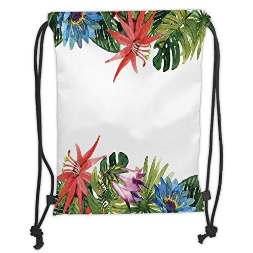 New Fashion Gym Drawstring Backpacks Bags,Leaf,Exotic Flowers Bamboo Climbing Dayflower Littlebell Coral Creeper Print,Green Red Purple and Blue Soft Satin,Adjustable String ()