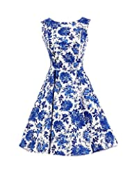 Kisstyle Women Vintage Round Neck Floral Party Cocktail Evening Dress