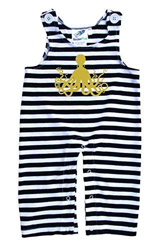 Baby and Toddler Overalls-Octopus (3T, Black and White Stripes (Gold Graphic))