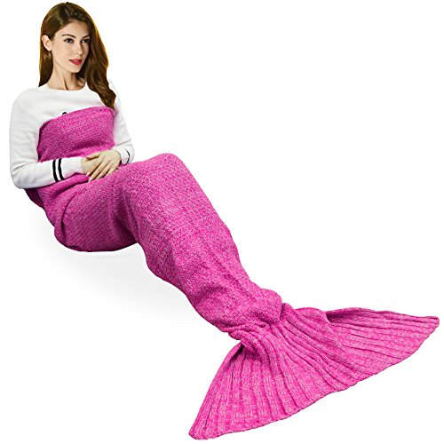 [Handmade Mermaid Tail Blanket Crochet , T-tviva All Seasons Warm Knitted Bed Blanket Sofa Quilt Living Room Sleeping Bag for Kids and Adults (72.8