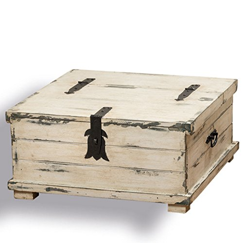 The Cape Cod Steamer Trunk, Coffee Table and Storage Box, Approx. 2Ft Square, Rustic Creamy White, Pale Blue, Vintage Gray, Distressed Finish, Nautical Style, Black Hardware, By Whole House Worlds by Whole House Worlds