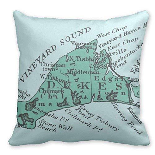 (Fhdang Decor Lovely Customize Funny Throw Pillows Covers Vintage Martha's Vineyard sea Green Blank 18
