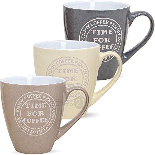 Große Jumbo Becher Tassen Kaffeetassen Kaffeebecher TIME FOR COFFEE 3-tlg. Set creme beige grau Keramik je 11 cm / 440 ml