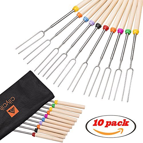 cilycily 10 Roasting Sticks BBQ Forks Extending Roaster Set of 10 Telescoping Smores Skewers & Hot Dog Forks 32 Inch Fire with 10 Bamboo Skewers by cilycily