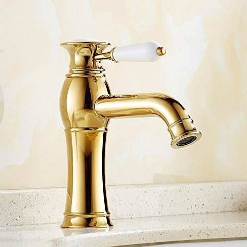 (DDY Bathroom table basin faucet hot and cold single handle electroplated faucet gold , gold)