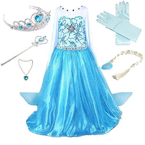 (Anbelarui Girls Princess Deluxe Fancy Costume Snowflakes Flower Print Dress + Accessories Set (3-4 Years, 01 Dress&Accessories Set))