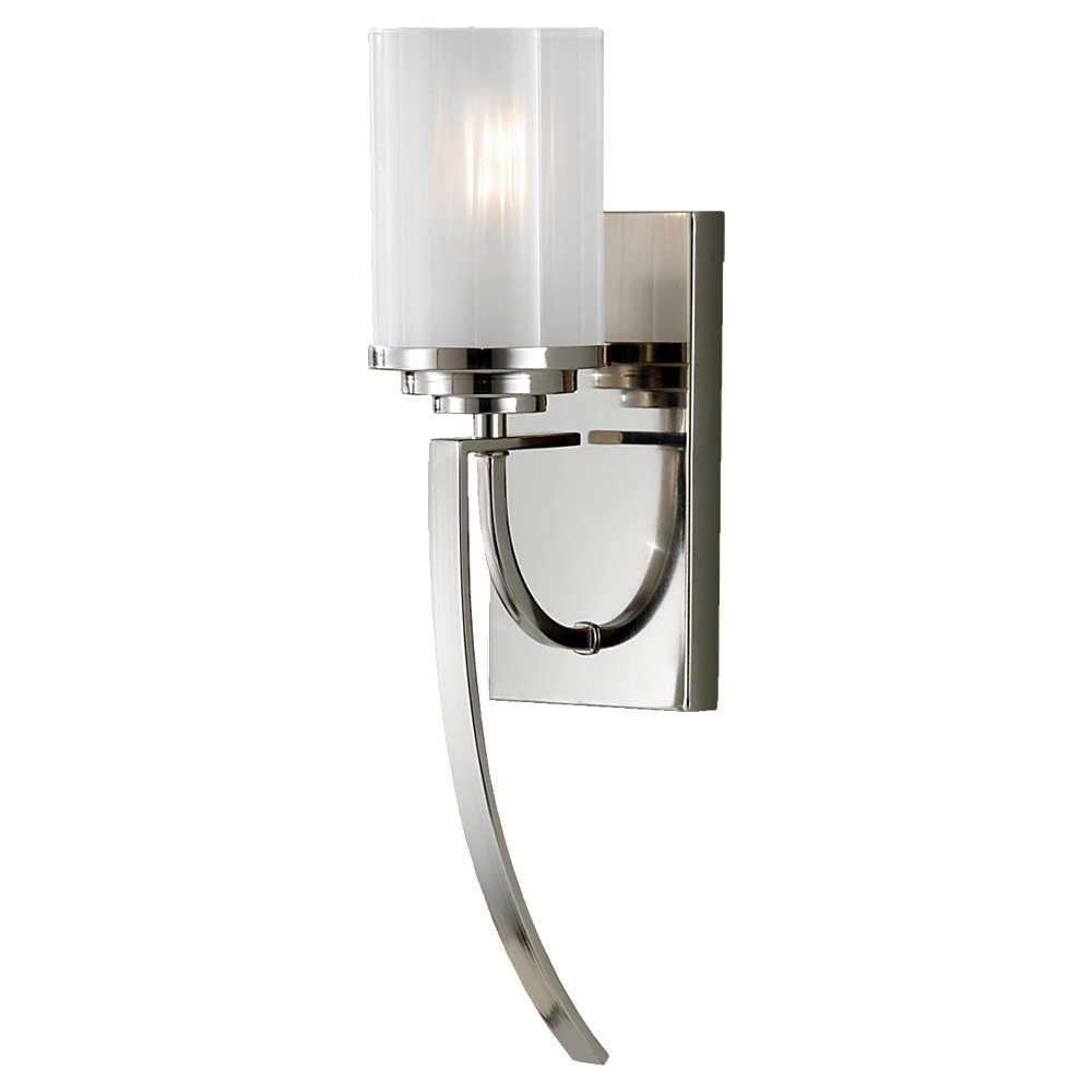 1-Light 100watts North Coast Lighting 5W x 18H 100watts 1-Light Chrome 5W x 18H Feiss WB1561PN Finley Glass Wall Sconce Lighting