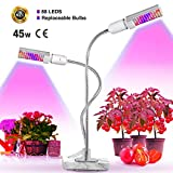 LED Plant Grow Light for Indoor Plants- Bozily 45W Upgraded Full Spectrum Replacement Plant Light with Double Switch – 360 Degree Dual Head Flexible Gooseneck Plant lamp (45W Upgrade Full Spectrum)