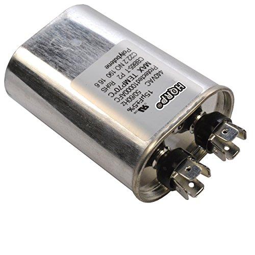 HQRP 15uf 370-440V Capacitor for AC Electric Motor Run Start HVAC Blower Compressor Furnace 15MFD 27L567 97F9004 Z97F9004 97F9004BZ3 CBB65