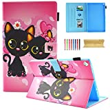 Coopts Case for All-New Amazon Fire HD 10 Tablet (7th Generation, 2017 Release) - [Multi-Angle Viewing] Folio Stand Cover with Pocket Auto Wake/Sleep for Fire HD 10.1 Inch Tablet, Two Cats