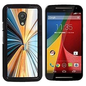 Be Good Phone Accessory // Dura Cáscara cubierta Protectora Caso Carcasa Funda de Protección para Motorola MOTO G 2ND GEN II // Lines Vertigo Blue Beige