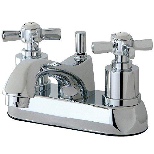 Centerset Lavatory Faucet Polished Brass - KINGSTON BRASS KS4261ZX Millennium 4-Inch Centerset Lavatory Faucet with Brass Pop-Up, Polished Chrome