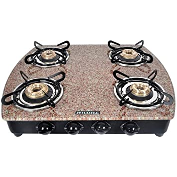 Jindal Designer Red Marble Top 4 Burner Toughened Glass Cooktop Gas Stoves at amazon