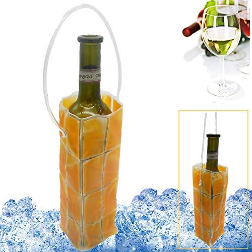 Rapid Ice Wine Cooler, Gel Wine Bottle Chill Cooler Ice Bag – Freezer Bag- Vodka- Tequila Chiller- Cooler- Carrier (winebag-orange)