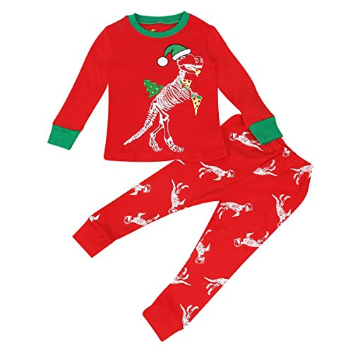 Kid Boy Girls Pajamas Set Long T Shirt + Pants Xmas Homewear Sleepwear Clothes (5T, Dinosaur)
