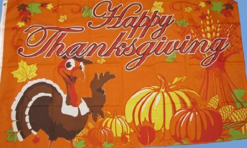 New 3X5 Ft Happy Thanksgiving Turkey & Pumpkin Decoration Fl