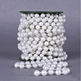 crystal garland roll - Worldoor® Hot selling New 22 yards 10mm Large crystal Faux Pearls Beads String By the Roll for Party Garland flowers Wedding Baby Shower Centerpieces Bridal DIY Decoration (White)