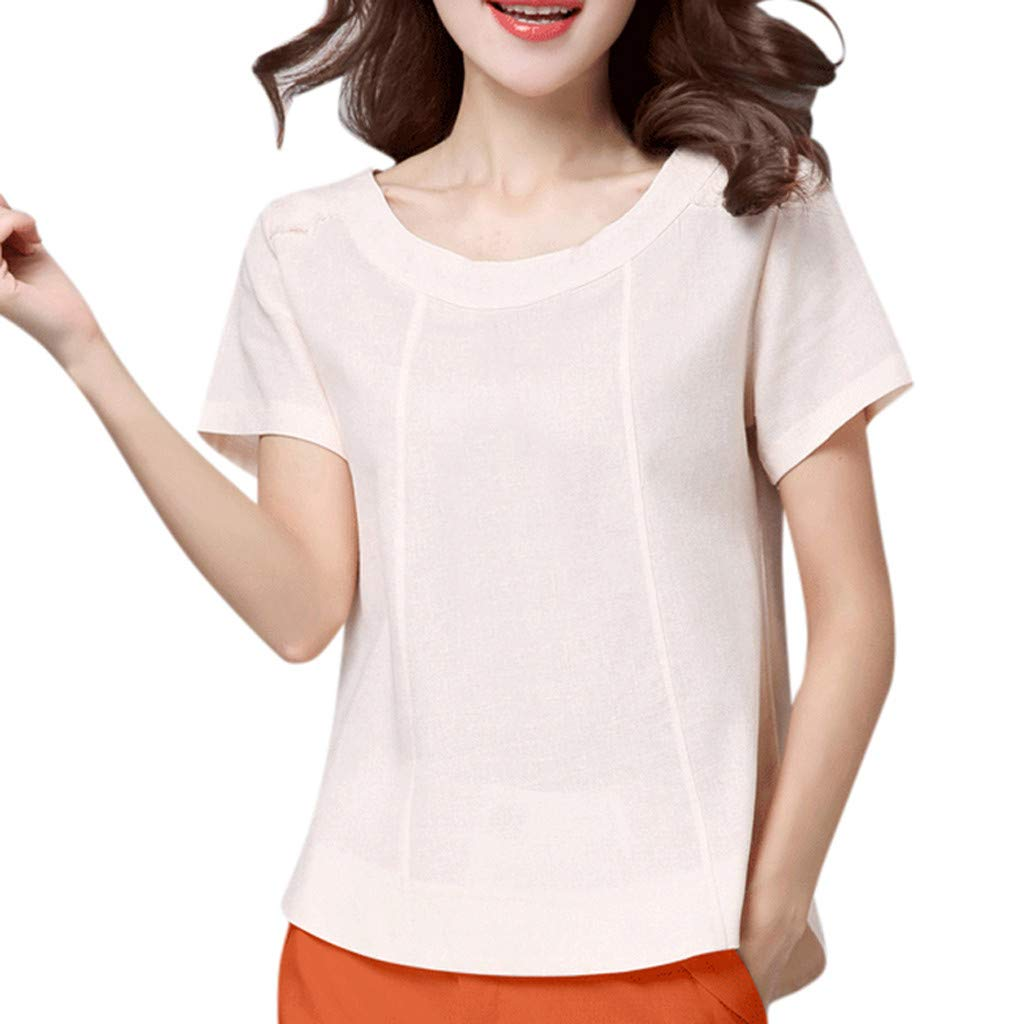 57b0e29ff276 Letdown Cotton Linen T Shirts for Women O Neck Short Sleeve Casual ...