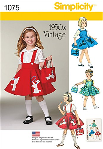 Simplicity 1075 1950's Vintage Bag, Jumper, and Poodle Skirt Sewing Pattern for Girls, Sizes 3-8 - Pattern Girls Jumper