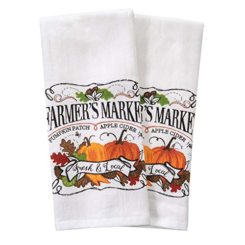 Loving Home Farmer's Market Pickup Truck Fall Wreath Fox and Owl Cotton Dishtowel Set of 2 Kitchen Tea Towels (Farmers Market) ()
